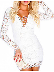 Women's Party Club Sexy Vintage Bodycon Dress,Solid V Neck Mini Long Sleeve Others Summer Fall High Rise Stretchy Thin