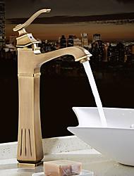 Antigo Moderno Conjunto CentralVálvula Cerâmica Monocomando e Uma Abertura for  Cobre Envelhecido , Torneira pia do banheiro