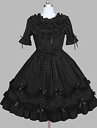 Uma-Peça/Vestidos Gótica Rococo Princesa Cosplay Vestidos Lolita Preto Rendas Vintage Concha Manga Curta Longuete Vestido ParaMisto de