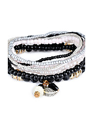 Lureme Bohemian Beads Leaf Charms Multi Strand Textured Stackable Bracelet Set