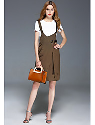 INPLUS Women's Daily Lovely Spring Summer T-shirt Dress SuitsSolid Round Neck Short Sleeve Inelastic