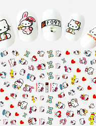 1pcs Fashion Lovely Cartoon Hello Kitty Beautiful Heart&Bow-knot Design Nail Art DIY Beauty 3D Stickers Cute Decoration F097