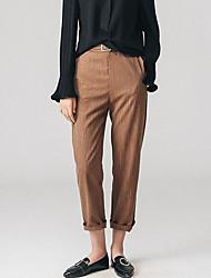 Femme simple Taille haute Micro-élastique Costume / Tailleur Pantalon,Droite Couleur Pleine