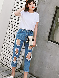 Damen Stickerei Einfach Alltag T-shirt,Rundhalsausschnitt Kurzarm Baumwolle