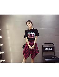 Damen Muster Einfach Normal T-shirt,Rundhalsausschnitt Sommer Kurzarm Baumwolle Mittel