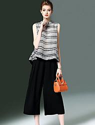 Mujer Verano T-Shirt Pantalón Trajes,Escote Redondo Sin Mangas