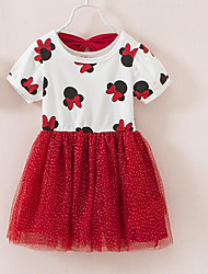 Girl's Print Dress Short Sleeve