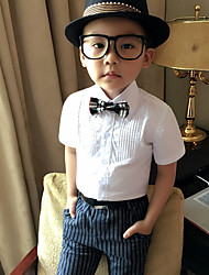 Boy's Han Edition Fashionable And Comfortable Pure Color Stand Collar Short Sleeve Shirt (Do not include the tie)