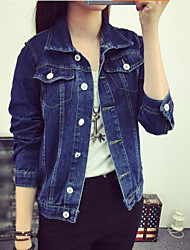 Women's Outdoor clothing Active Spring Denim Jacket,Solid Stand Long Sleeve Regular Cotton
