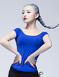 Latin Dance Tops Women's Performance Ice Silk 1 Piece Short Sleeve Natural Tops