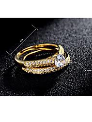 Ring Kubikzirkonia Klassisch Elegant Modisch Zirkon versilbert vergoldet Runde Form Schmuck Für Hochzeit Party Verlobung Alltag 1 Set