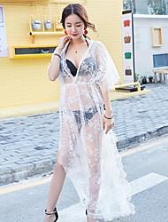 Feminino Cobertura Com Babado Sólido Malha Voile/Transparente