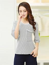 Damen Gestreift Einfach T-shirt,Rundhalsausschnitt ¾-Arm Leinen