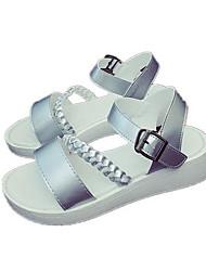 Damen Sandalen PU Frühling Weiß Silber Flach
