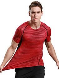 Per uomo T-shirt da corsa Asciugatura rapida Traspirante Morbido Compressione Comodo T-shirt Top perCampeggio e hiking Esercizi di