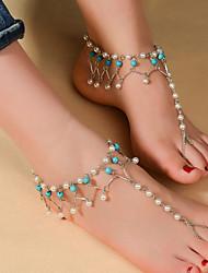 Femme Bracelet de cheville/Bracelet Imitation de perle Turquoise Bohême Goutte Bijoux Pour Quotidien Décontracté Sports 1pc