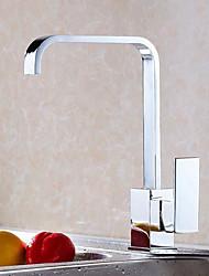 Contemporain Grand / Haut Arc Set de centreSoupape céramique Mitigeur un trou for  Chrome , Robinet de Cuisine