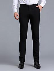 Hombre Cosecha Sencillo Chic de Calle Tiro Bajo Microelástico Chinos Empresa Pantalones,Corte Recto Delgado Color puro