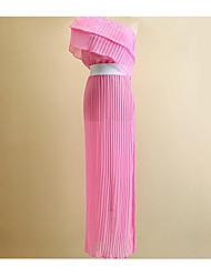 Для женщин Секси Кружева Платье Однотонный,Асимметричный вырез Ассиметричное Без рукавов Искусственный шёлк Лето Осень С высокой талией