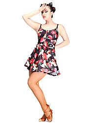 Danse latine Robes Femme Spectacle Viscose 1 Pièce Sans manche