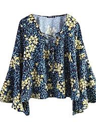 Для женщин Повседневные Блуза Асимметричный вырез,Простое С принтом Длинный рукав,Полиэстер