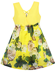 Girls Summer Yellow Flower Pearl Dresses Party Pageant Wedding Kids Clothing Size 4-14