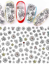 1pcs Fashion Nail Art Beautiful Flower 3D Stickers Black Flower Design Nail DIY Beauty Decoration F081