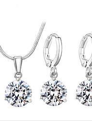 Zircon Suit Copper Jewelry Drops Necklace Earrings Suit Fine Jewelry