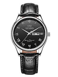 Homens Relógio Esportivo Relógio de Moda relógio mecânico Mecânico - de dar corda manualmente Calendário Impermeável Couro BandaPreta