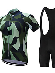 SUREA Cycling Jersey with Bib Shorts Men's Short Sleeves Bike Clothing Suits Quick Dry Breathable Compression Sweat-wicking LYCRA® Coolmax