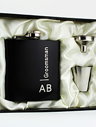Personalized 3-pieces Stainless Steel Hip Flasks 6-oz Black Flask Gift Set