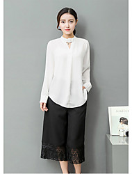 2017 spring and autumn new Korean long-sleeved chiffon shirt fashion piece wide leg pants suit