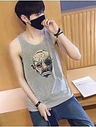 Men's Casual Simple Tank Top,Print Round Neck Sleeveless 100%Cotton