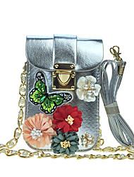 Femme Mobile Bag Phone Polyuréthane Similicuir Toutes les Saisons Décontracté Pochette à ChaînesStrass Appliques Fleur en Satin Paillette