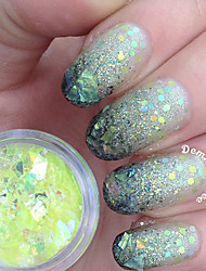 2g The Vivid Green Fluorescent Nail Flakies Glass Paper Irregular Paillette Nail Art Glitter Sequins Flakes