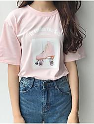 Tee-shirt Femme,Imprimé Sortie Mignon Col Arrondi Coton