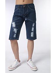 Homme simple Actif Taille Normale Micro-élastique Jeans Pantalon,Mince Toile de jean Couleur Pleine