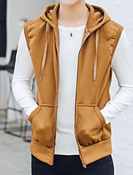 Men's Casual/Daily Active Shirt,Solid Hooded Sleeveless Polyester