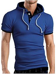 Masculino Camiseta Casual Simples Verão,Sólido 100% algodão Com Capuz Manga Longa 30D