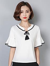 Damen Solide Sexy Normal T-shirt,V-Ausschnitt Kurzarm Andere