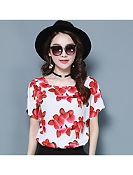 Women's Daily Casual Simple Summer Blouse,Floral Round Neck Short Sleeve Stretch Chiffon Ice Silk Thin