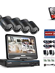 Sannce® 4ch 4шт 720p lcd dvr защищенная от непогоды система безопасности, поддерживающая аналоговую ahd tvi ip-камеру с 1tb hdd