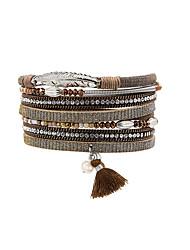 Fashion Women Multi Rows Metal Leaf  Rhinestone Crystal Beads Spring Magnet Leather Bracelet