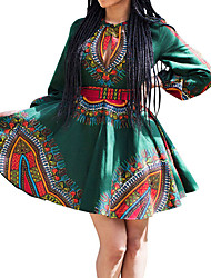 Women's Plus Size Going out Casual/Daily Holiday Sexy Vintage Boho Sheath Swing DressPrint Pleated Ruched Slim Crew Neck Above Knee Long Sleeve