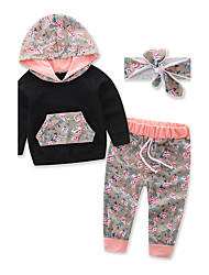 Girls Boy Fashion Sports Floral Clothes Sets Cotton Fall Fall/Autumn Long Pant Baby Kids Headband Clothing Set
