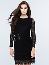 Women's Going out Simple Sheath Dress,Patchwork Round Neck Above Knee Long Sleeve Pink / Black Polyester Spring / Fall Mid Rise