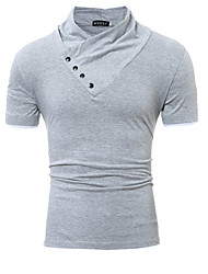Men's Sports Casual/Daily Simple T-shirt,Solid Button Down Collar Short Sleeve Cotton