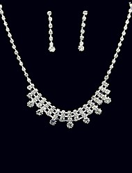 Jewelry Set Rhinestone Square Rhinestone Alloy Square 1 Necklace 1 Pair of Earrings For Wedding Party Anniversary