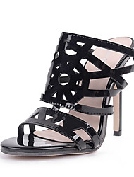 Women's Sandals Patent Leather Summer Hollow-out Stiletto Heel Black 4in-4 3/4in