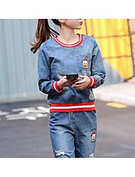 Mujer Primavera T-Shirt Pantalón Trajes,Escote Redondo 3/4 Mangas